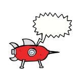 kreskówki astronautyczna rakieta z mowa bąblem Fotografia Royalty Free