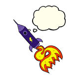 kreskówki astronautyczna rakieta z myśl bąblem Zdjęcie Royalty Free