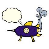 kreskówki astronautyczna rakieta z myśl bąblem Obrazy Stock