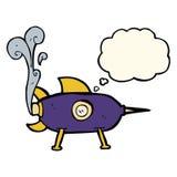 kreskówki astronautyczna rakieta z myśl bąblem Zdjęcia Royalty Free