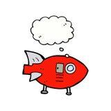 kreskówki astronautyczna rakieta z myśl bąblem Zdjęcie Stock