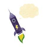 kreskówki astronautyczna rakieta z myśl bąblem Zdjęcia Stock