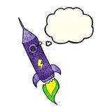 kreskówki astronautyczna rakieta z myśl bąblem Fotografia Royalty Free