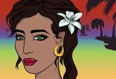 Kreskówki Azjatycka dziewczyna na plaży Zdjęcia Royalty Free