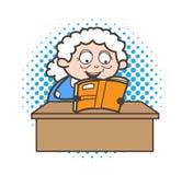 Kreskówki babcia Czyta Śmiesznych dowcipy i Roześmianą Wektorową grafikę royalty ilustracja