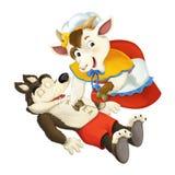 Kreskówki bajki charakter dla różnego użycia - macierzysta kózka jest szwalnym brzuchem wilk podczas gdy śpi ilustracja wektor