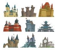 Kreskówki bajki kasztelu kamienia pałac wierza ikony scarry rycerza architektury budynku wektoru średniowieczna ilustracja Obrazy Royalty Free