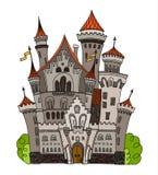 Kreskówki bajki kasztelu wierza ikona Śliczna architektura Wektorowa ilustracyjna fantazja domu bajka średniowieczna Obrazy Royalty Free