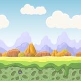 Kreskówki bajki krajobraz Dryluje bezszwową ilustrację dla gemowego projekta Horyzontalny kraju tło Obrazy Stock
