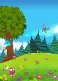 Kreskówki bajki scena łąka Obraz Royalty Free