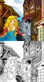 Kreskówki bajki scena - kolorystyki strona Obrazy Royalty Free