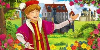 Kreskówki bajki scena - młody książe ilustracja wektor