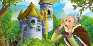 Kreskówki bajki scena z kasztelu wierza starą czarownicą w lesie i piękną dziewczyną Zdjęcie Royalty Free