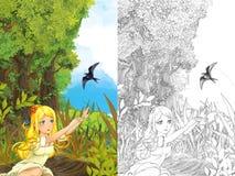 Kreskówki bajki scena z młodą małą dziewczynką na łąkowym falowaniu kukułka ptak z kolorystyki stroną - blisko lasu - Zdjęcia Stock