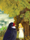 Kreskówki bajki scena z młodym małej dziewczynki utrzymaniem w drzewnym domu i kukułki ptasim obsiadaniem w tle ilustracji