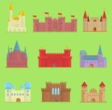 Kreskówki bajki wektoru kasztelu wierza ikony kreskówki ślicznej architektury fantazi domu ilustracyjna bajka średniowieczna Obraz Royalty Free