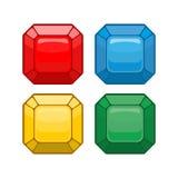 Kreskówki biżuteria Setów barwioni gemstones również zwrócić corel ilustracji wektora Obrazy Stock
