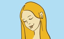 Kreskówki blond dziewczyna uśmiechnięta i patrzeje w dół Fotografia Stock