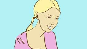 Kreskówki blondynki ładna dziewczyna uśmiechnięta i patrzeje w dół Zdjęcie Royalty Free