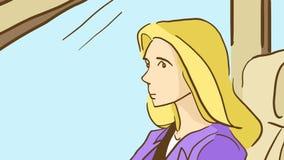 Kreskówki blondynki kobieta na frontowym miejscu pasażera carhe natura na letnim dniu Zdjęcia Stock