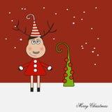 Kreskówki Bożenarodzeniowa jelenia kobieta z choinką na czerwonym tle Fotografia Royalty Free