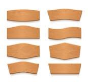 Kreskówki brązu drewnianego talerza puści wektorowi sztandary Roczników drewniani faborki ustawiający ilustracja wektor