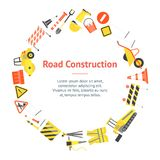 Kreskówki budowy drogi sztandaru karty okrąg wektor Zdjęcia Stock