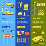 Kreskówki budowy drogi sztandaru Vecrtical set wektor Zdjęcia Stock