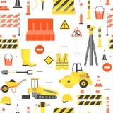 Kreskówki budowy drogi tła wzór na bielu wektor Obrazy Stock