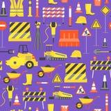 Kreskówki budowy drogi tła wzór na purpurze wektor Zdjęcia Royalty Free