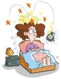 Kreskówki budzi się kobieta. Zdjęcie Stock
