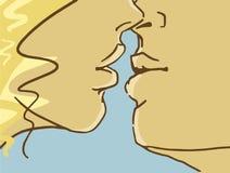 Kreskówki całowania kochankowie, zbliżenie Kolorowy wektorowy nakreślenie Obrazy Royalty Free