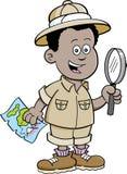 Kreskówki chłopiec Afrykański badacz ilustracja wektor