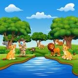 Kreskówki chłopiec badacz z zwierzętami rzeką ilustracja wektor