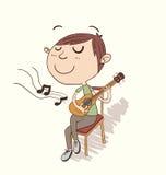 Kreskówki chłopiec bawić się gitarę Obrazy Royalty Free