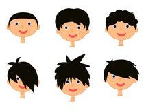 Kreskówki chłopiec głowa, twarzy ikony set, symbol, projekt Obraz Royalty Free