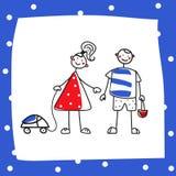 Kreskówki chłopiec i dziewczyna ilustracji