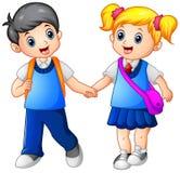 Kreskówki chłopiec i dziewczyna iść szkoła wpólnie ilustracji