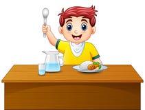 Kreskówki chłopiec mienia szczęśliwa łyżka na łomotać stół ilustracja wektor