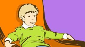 Kreskówki chłopiec obsiadanie W Pomarańczowym krześle Obrazy Stock