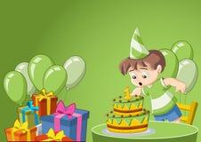 Kreskówki chłopiec przy przyjęciem urodzinowym ilustracja wektor