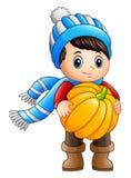 Kreskówki chłopiec trzyma bani ilustracji