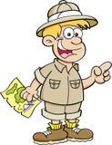Kreskówki chłopiec ubierająca jako badacz ilustracji