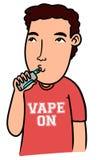 Kreskówki chłopiec vaping z odosobnionym tłem Zdjęcie Stock