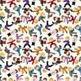 kreskówki chiński fu kung wzór bezszwowy ilustracji