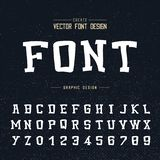 Kreskówki chrzcielnica, abecadło wektor, Typeface i liczba projekt, Graficzny tekst na grunge tle ilustracji