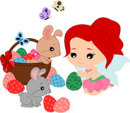 Kreskówki czarodziejka i króliki Fotografia Royalty Free