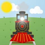 Kreskówki czerwieni i czerni rocznika parowa lokomotywa Zdjęcia Stock