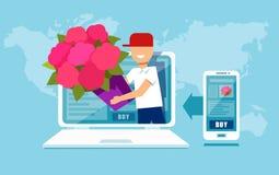 Kreskówki deliveryman z kwiatami w komputerze ilustracji