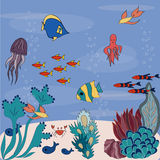 Kreskówki denny dno z kolorowymi ryba Ilustracja Wektor
